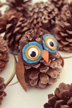 DIY pinecone owl.