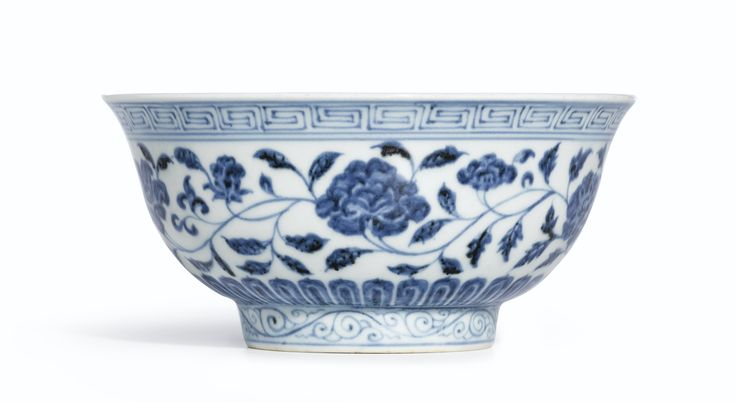 A fine blue and white 'Lotus scroll' bowl, Mark and period of Xuande