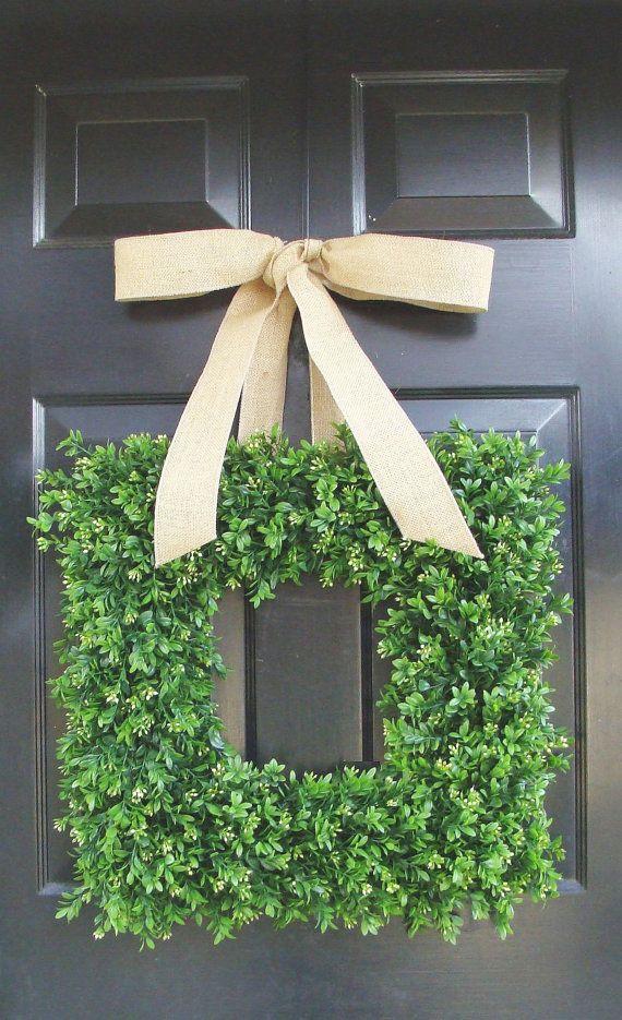 Square Boxwood Wreath, Square Summer Wreath, Burlap Bow, Outdoor Spring Wreath, Housewarming Gift, Wedding Wreath 20 INCH on Etsy, $90.00