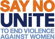 Say No to Violence Logo.   UNiTE with The Hunger Project UK for 16 Days of Activism from 25 November - UN International Day for the Elimination of Violence Against Women.  Get involved @The Hunger Project UK Facebook.com/TheHungerProjectUK