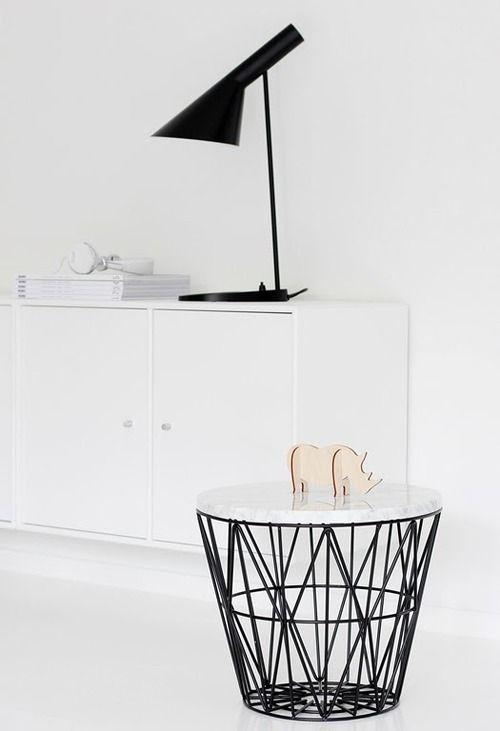 Ferm Living basket into side table - idea. Arne Jacobsen Lamp.