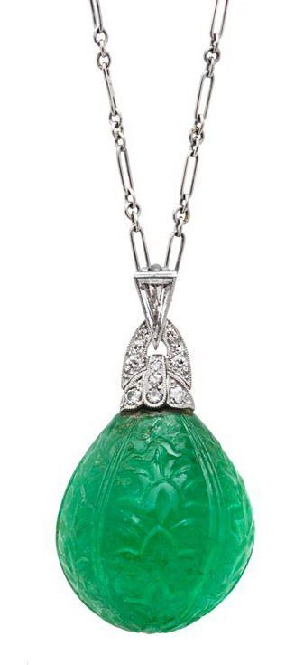 Estate Betteridge Collection Art Deco Moghul Carved Emerald & Diamond Pendant