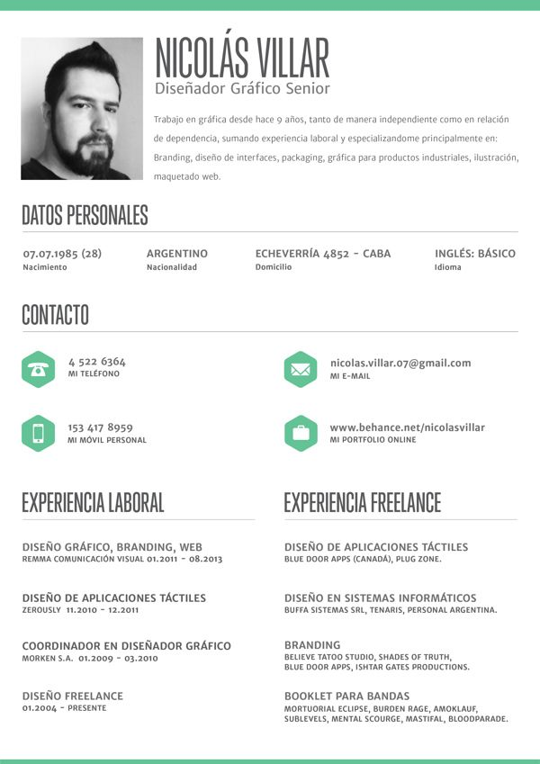 clean crisp resume layout by nicolás villar via behance for more