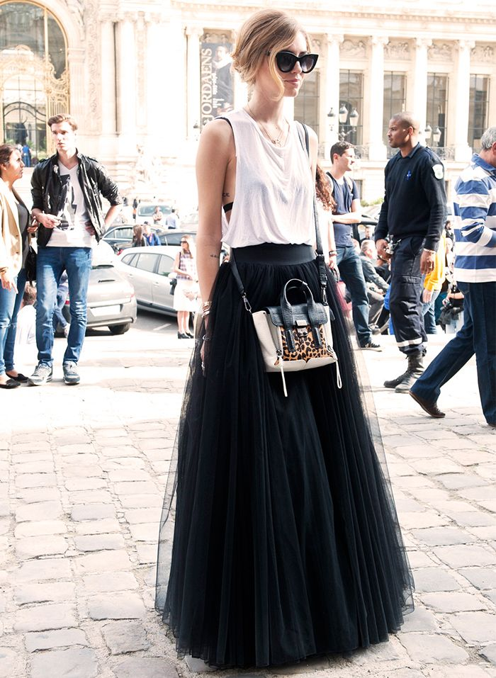 OBSESSED: Long tulle maxi skirt, white tank, and a mini animal print detailed bag #streetstyle
