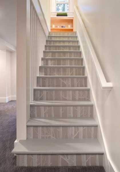 modern wallpaper with tree pattern for staircase decorating