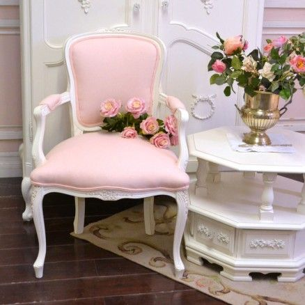 Single Pink Linen Armchair