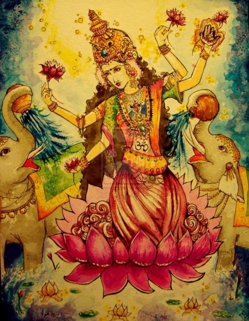 so beautiful--Lakshmi, the Hindu goddess of wealth, prosperity (both material and spiritual), fortune, and the embodiment of beauty.