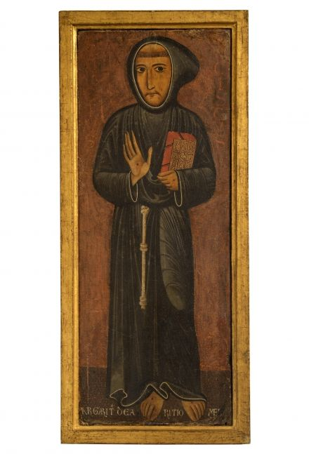 Margarito d'Arezzo,  Saint Francis of Assisi,  1240-1245,  Inv. 2,  tempera on board,  95 x 37 cm,  Siena, Pinacoteca Nazionale.