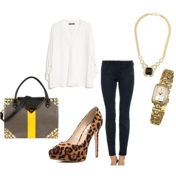 A fashion look from November 2014 featuring white v neck blouse, skinny leg jeans and high heel pumps. Browse and shop related looks.