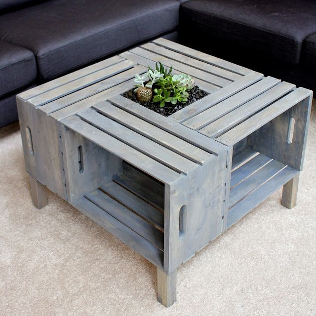 {DIY} Crate Coffee Table