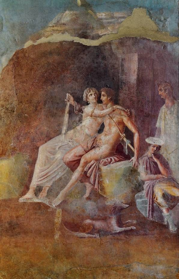 """Mars and Venus"" wall fresco from the Casa del Citarista (detail), Third style to v 36. Chr.-50 n. Chr. , Naples National Archaeological Museum"