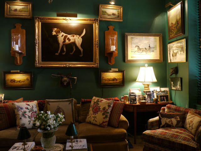 Google Image Result for http://4.bp.blogspot.com/-Ycl9IXLR5tk/UJlN55Go3-I/AAAAAAAAK8g/Kh3rRqv8tr0/s640/horse-dog-framed-prints-wall-gallery-green-painted-walls-decor-plaid-chair-decorating-traditional-home-room-ideas.jpg