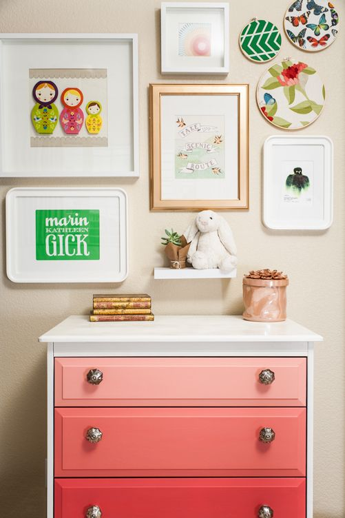 Ombré dresser; also love the gallery wall.