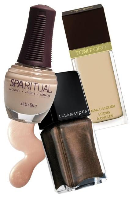 The New Neutrals: Warm SpaRitual Nail Lacquer in UnComplicated, $12; beauty.com   Tom Ford Beauty Nail Lacquer in Toasted Sugar, $32; neimanmarcus.com   Illamasqua Nail Varnish in Facet, $17; sephora.com