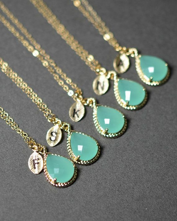 Mint opal green gold necklaces with monogram- cute bridesmaids gift