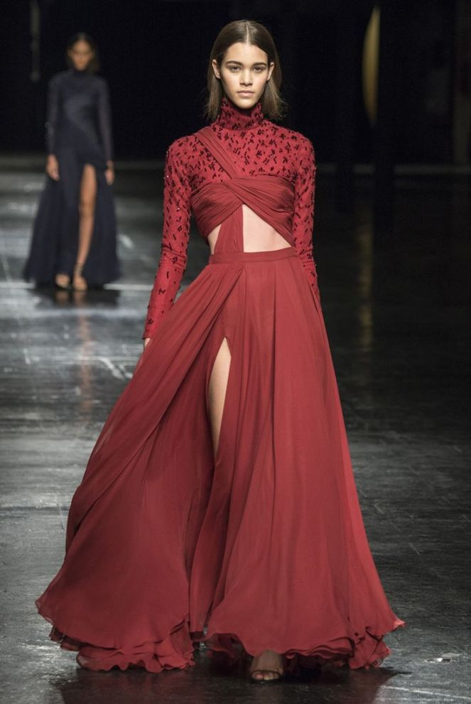 Prabal Gurung maroon wrap dress fall 2014 rtw
