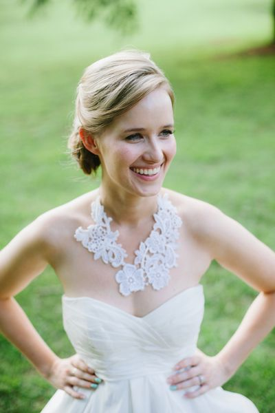 gorgeous lace necklace made from the bride's mother's wedding gown!