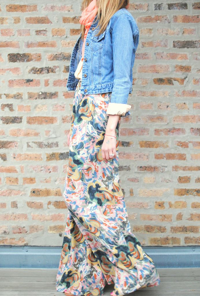 Jean jacket and scarf with bright palazzo pants, this look is perfection!!  I'm loving the new palazzo pants and their prices on Facebook.com/monogramsandmorebylauren!!!