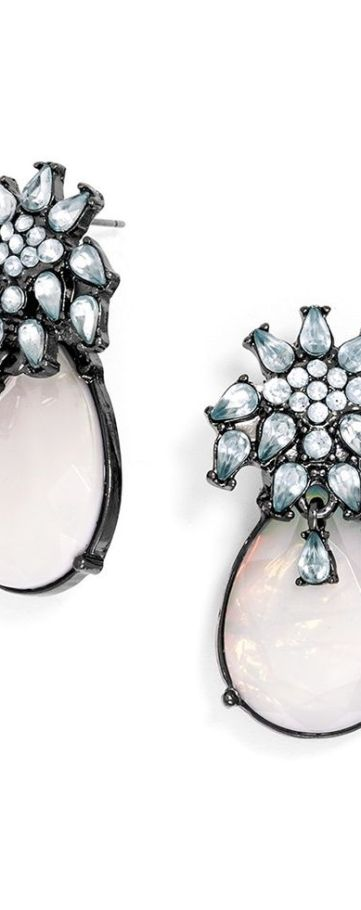 A floral motif accents a teardrop for a playfully elegant earring, just right for a garden party.