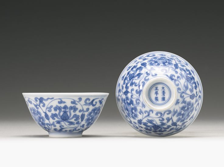 A pair of blue and white wine cups, Yongzheng marks and period