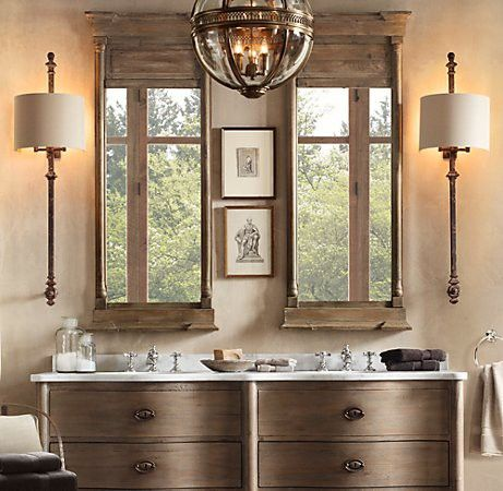 love tis bathroom!  #lighting #Mirrors #bathroom  Splendid Sass: BATHROOM BLISS