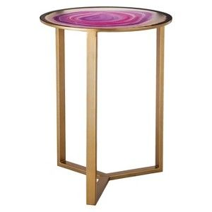 Threshold™ Glass Faux Agate Accent Table -Pink : Target Mobile