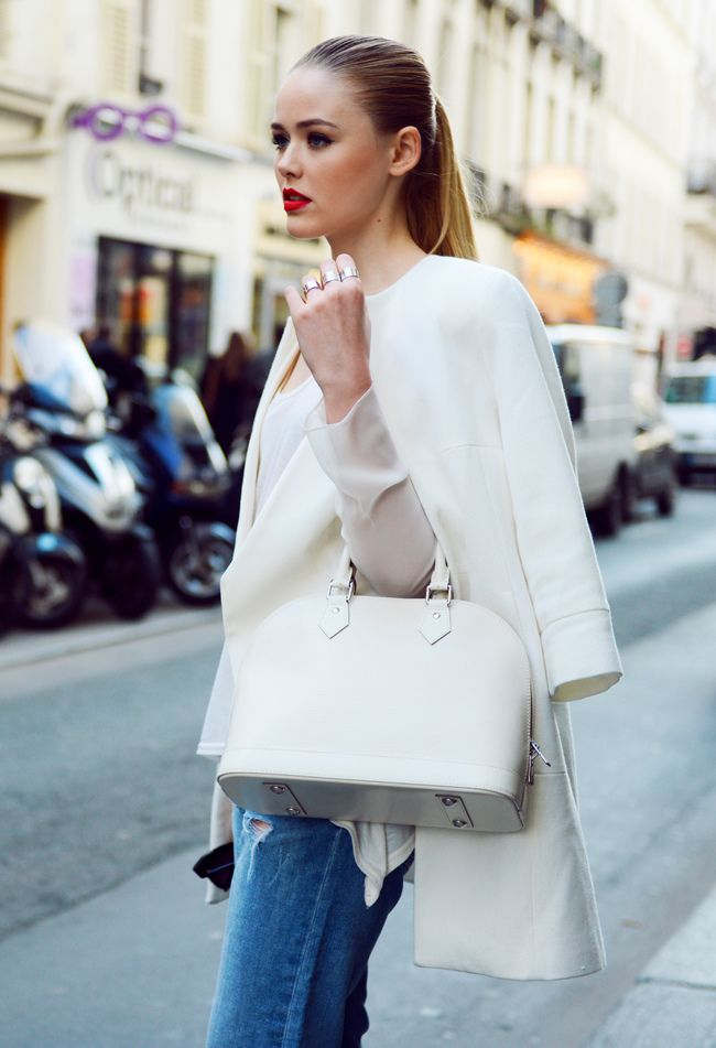 #white | zara coat | louis vuitton purse