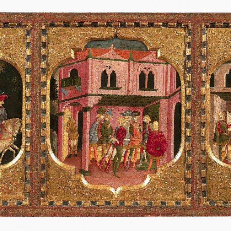 Devant de coffre illustrant trois épisodes de la Teseida de Boccace vers 1440 © Galerie G.Sarti. Biennale des Antiquaires 2014, Paris
