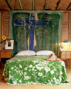 love this - large art as headboard