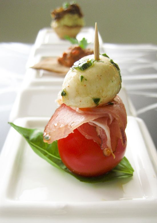 Tomato, mozzarella, prosciutto, basil