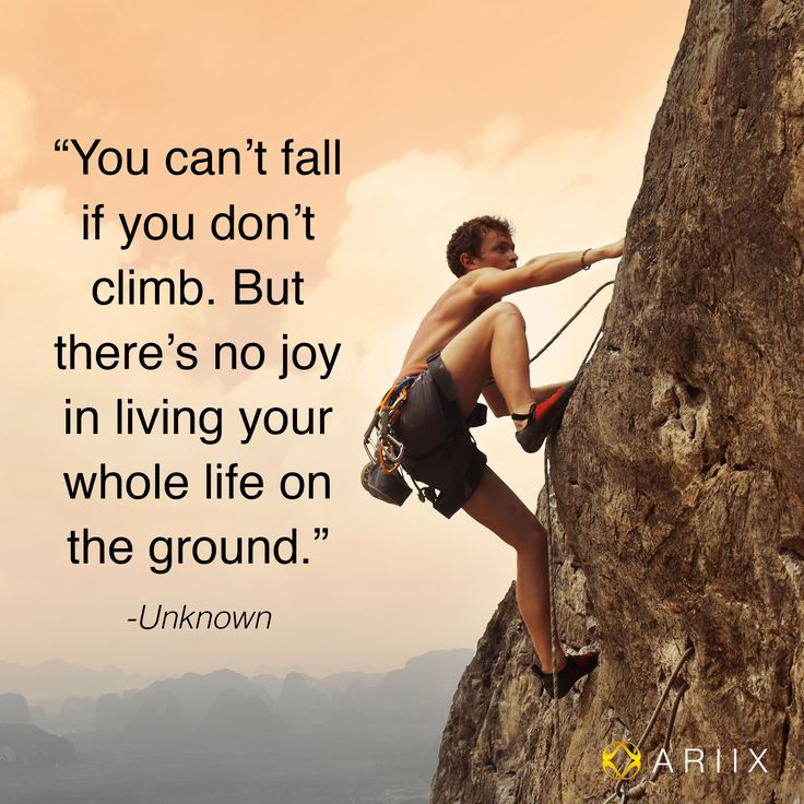 Can't fall if you don't climb.