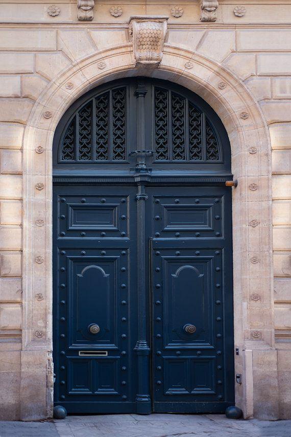Paris Photograph  Navy Blue Door Parisian Travel Fine by ParisPlus