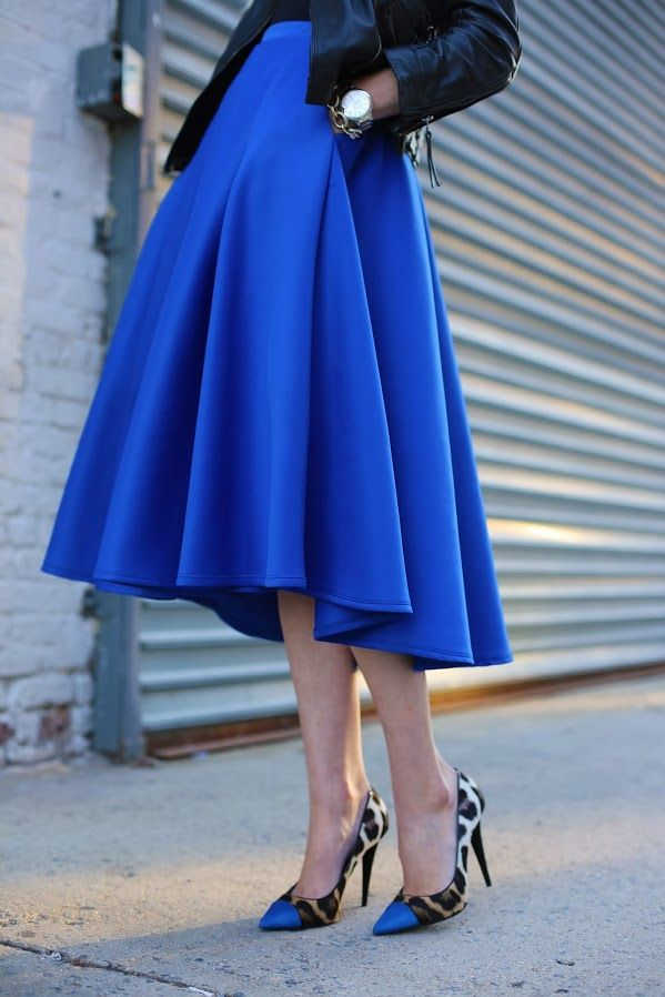 dazzling blue full skirt outfit