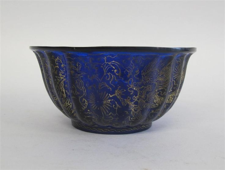 Chinese gilt decorated transparent blue glass fluted bow,Qianlong mark but later