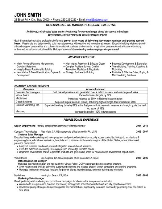 click here to download this sales or marketing manager resume template