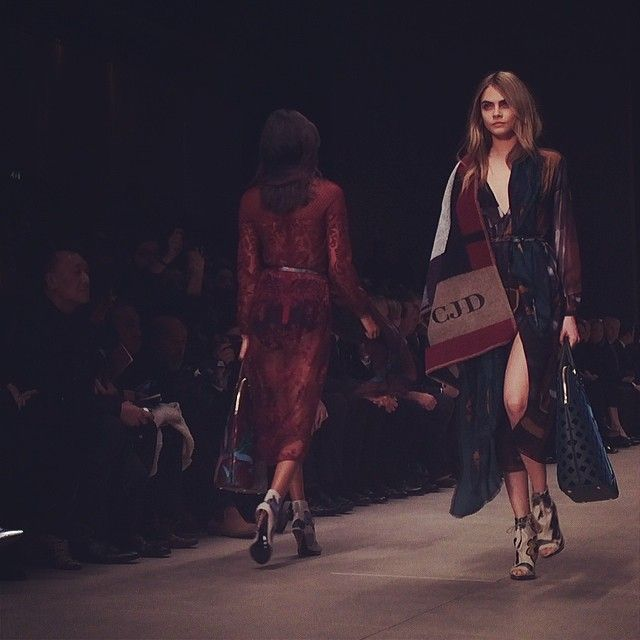 British model Cara Delevingne on the #Burberry runway #LFW