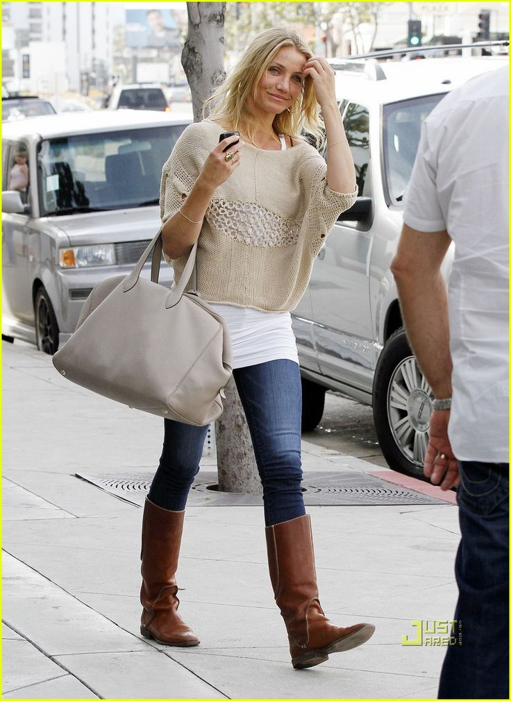 Cameron Diaz- How to wear a cropped sweater