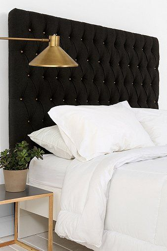 Elliot Brass Button Headboard  #headboard #tufted #brass #bedroom