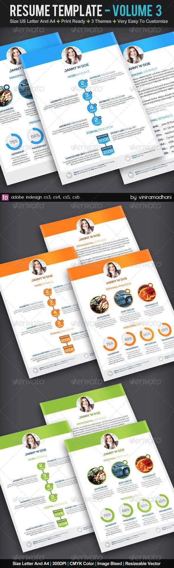 resume template volume 3 graphicriver specs adobe indesign cs3