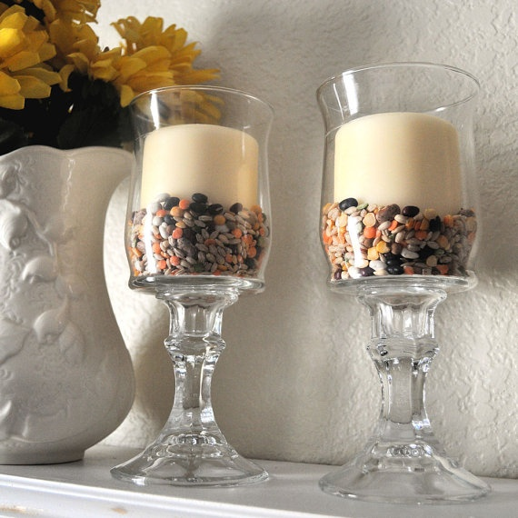 glasses with candle holders as bases.  Great idea!