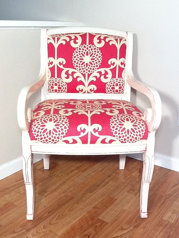 cute crimson and cream upholstered chair