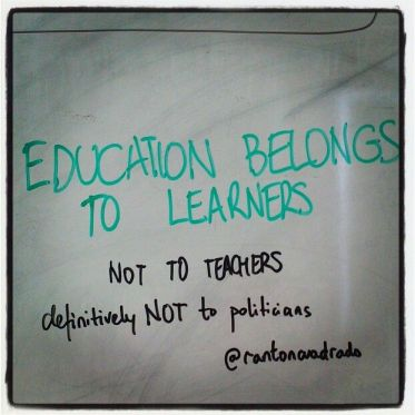 Education belongs to learners CC-BY @rantoncuadrado