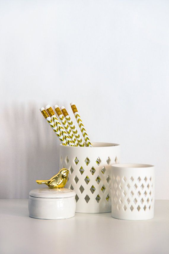 Gold Foil Chevron Pencils, Set of 6. Be warned: with such adorable patterns, you should watch out for poaching coworkers!