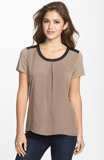 DKNYC Faux Leather Yoke Mixed Media Top | Nordstrom