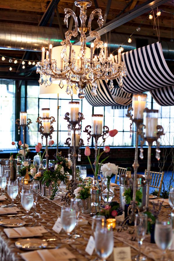 A Summerour Studio French Flea Market Inspired Wedding; WHERE did they get the chandeliers?!
