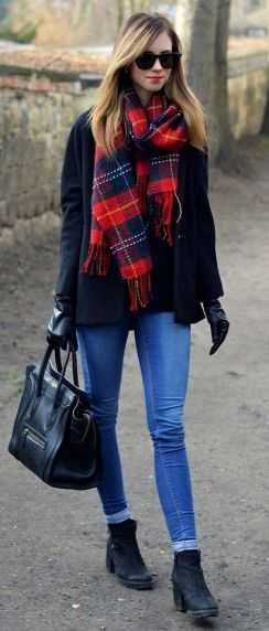 plaid check scarf and jeans