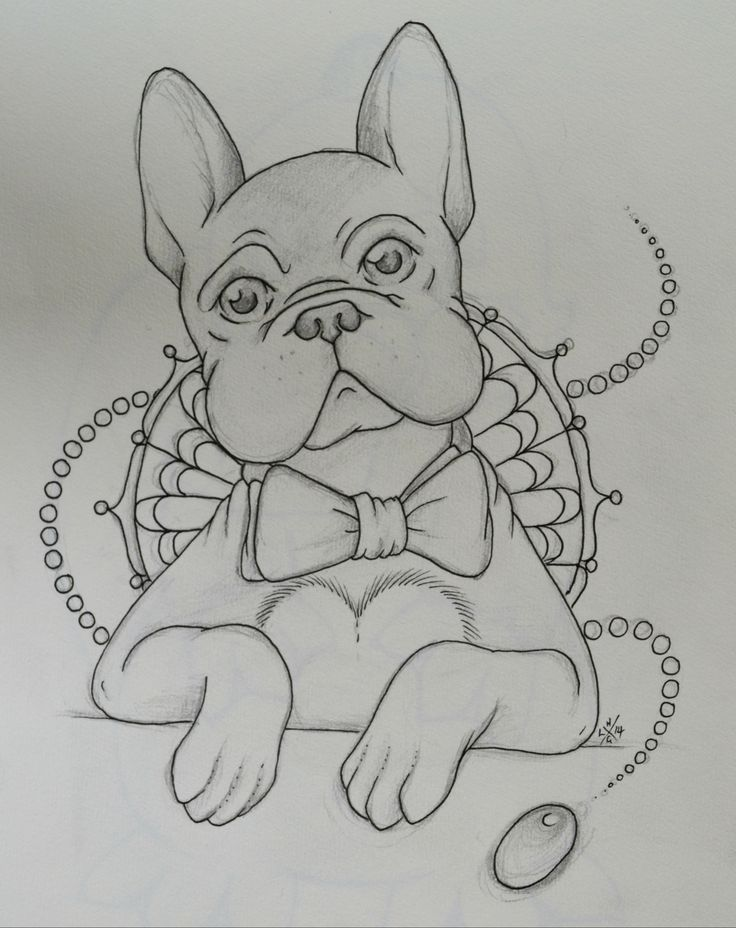 Dapper Dog Doodle by Lady Gabe - #Frenchie #Frenchbulldog #illustration