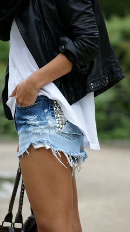 Leather & jean shorts #destroyed #ripped #cutoff #denim #casual #outfit #style #edgy #studded