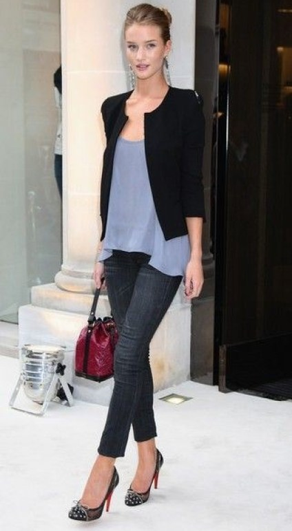 Long drapy blouse peeking from under fitted jacket with skinny jeans & heels. OK!  Rosie Huntington - Whiteley Street Style
