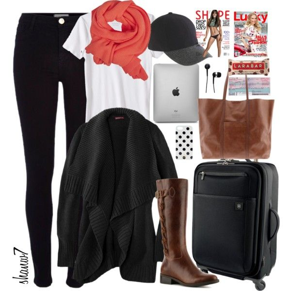 Travel Outfit: scarf, cardigan, iPad, iPhone, earbuds, carry-on, handbag, baseball cap, magazines, protein bar, plane ticket